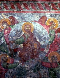 A fresco in the Byzantine church of Agios Ioannis in Kato Varsamonero KATO VALSAMONERO (Village) NIKIFOROS FOKAS